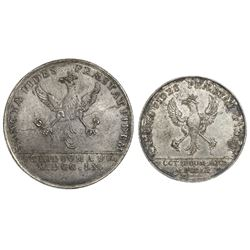 Lot of two silver Bogota, Colombia, uniface trial strikes of proclamation medal reverses (8R- and 4R