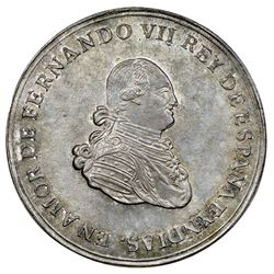 Bogota, Colombia, uniface obverse trial of a silver 8R-sized proclamation medal, Ferdinand VII (1808