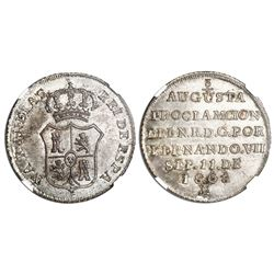 Colombia, silver 2R-sized proclamation medal, Ferdinand VII, 1808, pomegranates at top and bottom, N