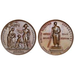 Colombia (struck in Italy), large copper medal, 1846, Bolivar / Abolition of Slavery.