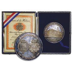 Havana, Cuba, large silver medal, Palacio de los Capitanes Generales 200th anniversary, 1976, with o
