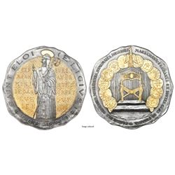 France (Paris mint), large selectively gilt silver medal, 1972, Saint Eligius, EE/XXV, with original