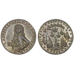 Great Britain, small copper-alloy Admiral Vernon medal, 1739, Porto Bello, Vernon alone, ex-Adams.