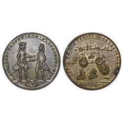 Great Britain, copper-alloy Admiral Vernon medal, 1741, Cartagena, Vernon and Ogle, ex-Adams.