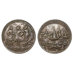 Great Britain, copper-alloy Admiral Vernon medal, 1741, Cartagena, Vernon, Ogle and Wentworth, ex-Ad