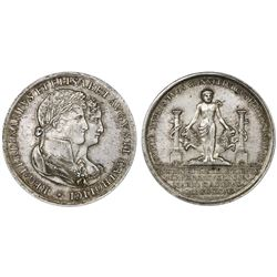 Cadiz, Spain, silver proclamation medal, Ferdinand VII, 1816, marriage of Ferdinand and Maria Isabel