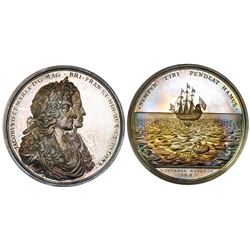 Turks and Caicos Islands, silver restrike (1971) of the British Phipps medal of 1687 commemorating t