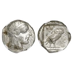 "Attica, Athens, AR tetradrachm ""owl,"" ca. 440-404 BC, NGC Ch AU, strike 4/5, surface 3/5."