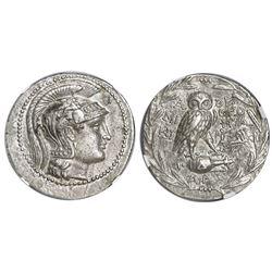 Attica, Athens, AR tetradrachm, 2nd-1st centuries BC, new style owl (ca. 136/5 BC?), NGC AU, strike