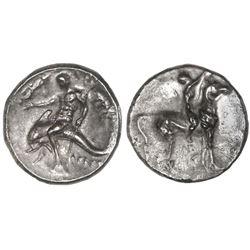 """Calabria, Tarentum, AR didrachm """"boy on dolphin,"""" ca. 281-240 BC, NGC VF."""