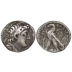 Seleucid Kingdom, Tyre, AR 1/2 shekel (didrachm), Demetrius II (2nd reign, 129-125 BC), dated 185 SE
