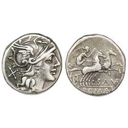 Roman Republic, AR denarius, L. Saufeius, 152 BC, Rome mint.