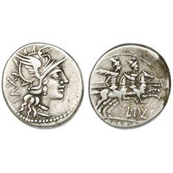 Roman Republic, AR denarius, L. Julius Denarius, 141 BC.