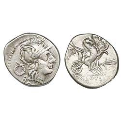Roman Republic, AR denarius, T. Cloelius, 128 BC, Rome mint.