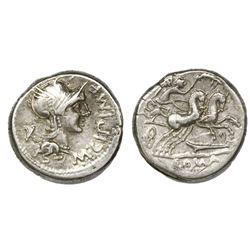 Roman Republic, AR denarius, M. Cipius M.f., 115-114 BC, Rome mint.