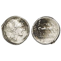 Roman Republic, AR denarius, Appius Claudius Pulcher, T. Manlius Mancius, and Q. Urbinius. 111-110 B