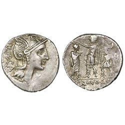 Roman Republic, AR denarius, P. Porcius Laeca, ca. 110-109 BC, Rome mint.