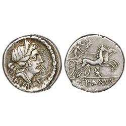 Roman Republic, AR denarius, D. Silanus L.f, 91 BC, Rome mint.
