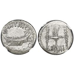Roman Empire, AR denarius, Marc Antony (d. 30 BC), Legion III, 32-31 BC, NGC AU, strike 4/5, surface