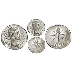 Roman Empire, AR denarius, Augustus, 27 BC-14 AD, Spanish mint, ca. 19-18 BC, NGC Ch AU, strike 4/5,