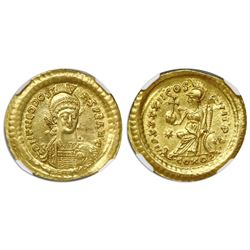 Eastern Roman Empire, AV solidus, Theodosius II, 402-450 AD, Constantinople mint, NGC MS, strike 5/5
