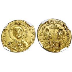Byzantine Empire, AV solidus, Constantine VII and Romanus II, ca. 945-963 AD, NGC AU, strike 5/5, su