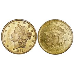 USA (Philadelphia mint), $20 coronet Liberty double eagle, 1861, NGC AU 55.