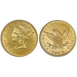 USA (Philadelphia mint), $10 coronet Liberty eagle, 1861, six-fold bun type, NGC AU 58.