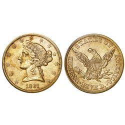 USA (Philadelphia mint), $5 coronet Liberty half eagle, 1861, NGC AU 55.