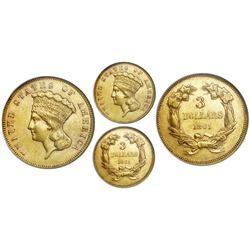 USA (Philadelphia mint), $3 Indian Princess, 1861, NGC AU 53.