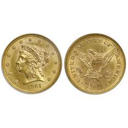 USA (Philadelphia mint), $2-1/2 coronet Liberty quarter eagle, 1861, new reverse, NGC MS 61.