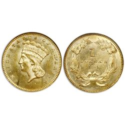 USA (Philadelphia mint), $1 Indian Princess, 1861, Type 3, NGC MS 63.