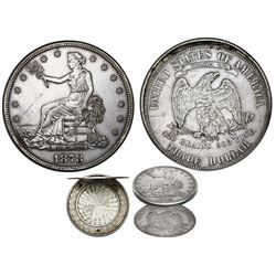 USA, trade dollar, 1878 San Francisco obverse matched with Philadelphia reverse, made into a locket