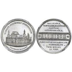"USA, aluminum medal (""so-called dollar""), 1893, World's Fair / Electrical Building / Aluminum, NGC M"