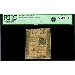 Pennsylvania, 30 shillings, July 20, 1775, plate A, serial 6591, PCGS AU 53 PPQ, ex-Newman.