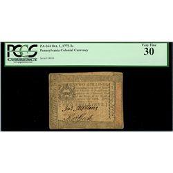 Pennsylvania, 2 shillings, Oct. 1, 1773, serial 28806, PCGS VF 30.