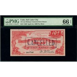 Salt Lake City, Utah, Bishop's General Storehouse, 10 cents of meat, April 1st, 1898, serial 11037,