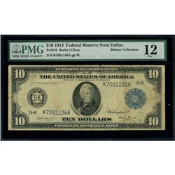 USA (Washington, D.C.), Federal Reserve Bank of Dallas, $10, series of 1914, serial K7091136A, PMG F
