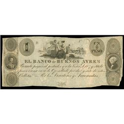 Buenos Aires, Argentina, Banco de Buenos Ayres, 1 peso remainder, no date (1827-29), plate position