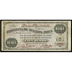Buenos Aires, Argentina, Banco Hipotecario de la Provincia de Buenos Aires, 100 pesos, 14-7-1891, se