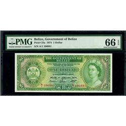 Belize, Government of Belize, 1 dollar, 1-1-1974, serial A/1 106881, PMG Gem UNC 66 EPQ.