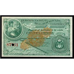 Bogota, Colombia, Banco Nacional, 50 centavos remainder, 1-9-1886, serial 87761, overprint on front,