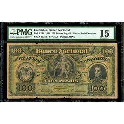 Bogota, Colombia, Banco Nacional, 100 pesos, 1-3-1888, series A, serial 15351, radar serial number,