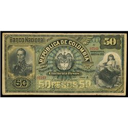 Bogota, Colombia, Banco Nacional, 50 pesos, 4-3-1895, series A, serial 07543.