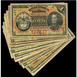 Lot of eighteen Bogota, Colombia, Banco Nacional, 1 pesos, 4-3-1895, complete series letter set.