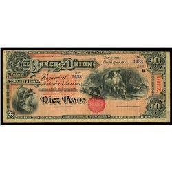 Bogota, Colombia, Banco Nacional, 10 pesos, 30-10-1899 overprint on Bogota, Colombia, Banco de la Un