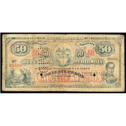 Bogota, Colombia, Banco Nacional, 50 pesos, 30-9-1900, series C, serial 03266.