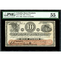 Bogota, Colombia, Banco Prendario, 10 pesos, 1-6-1884, series C, serial 1802, PMG AU 55.
