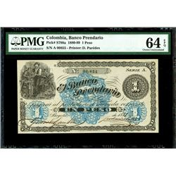Bogota, Colombia, Banco Prendario, 1 peso, 1881, series A, serial 00855, PMG Choice UNC 64 EPQ.