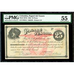 Bogota, Colombia, Pagare del Tesoro, 25 pesos, 1-2-1905, serial 032911 / 000230, PMG AU 55.